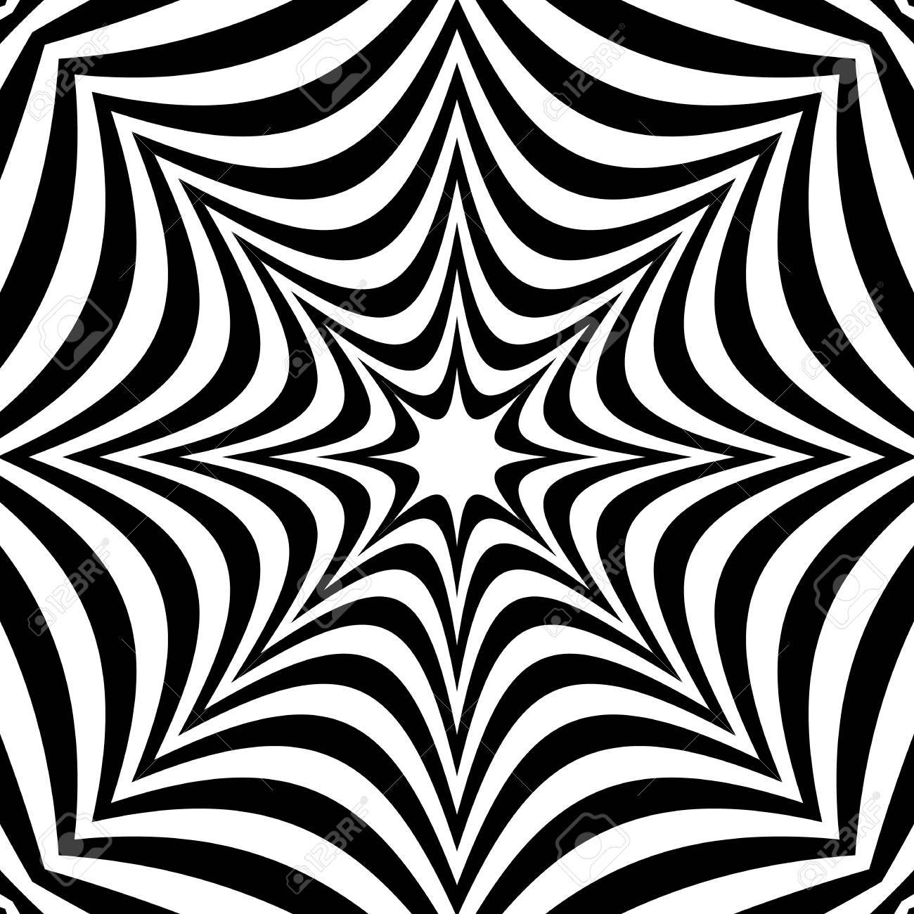 Radial geometric graphic with distortion effect. Irregular radiating lines pattern. abstract monochrome pattern - 69940199