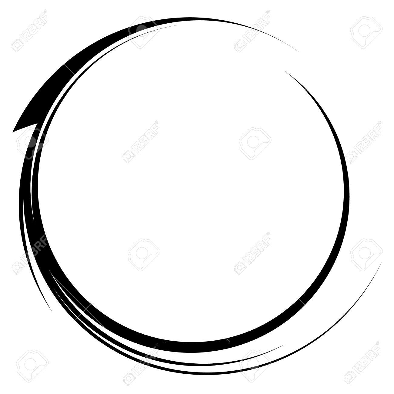 Círculo Con Marco Dinámico Línea Swoosh. Elemento Circular Monocromo ...