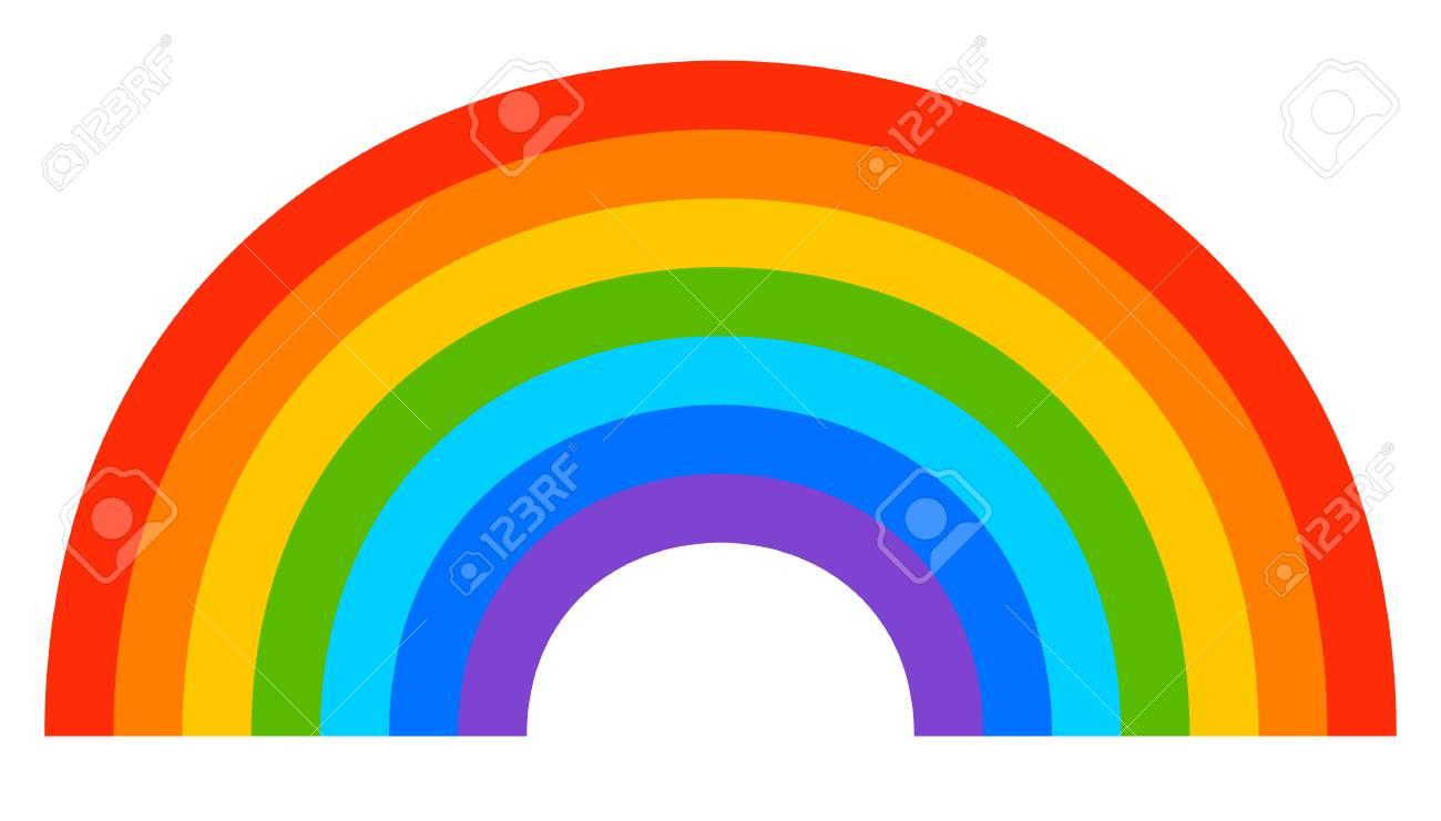 Einfache 7 Farben Regenbogen Element In Weiß Lizenzfrei Nutzbare
