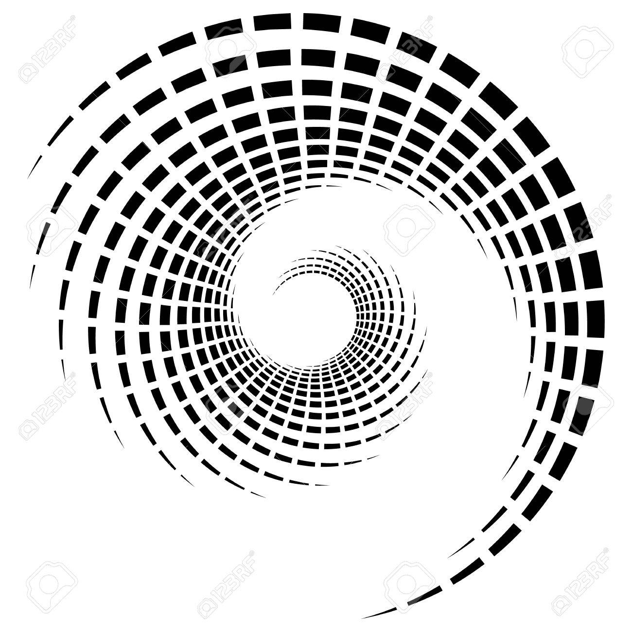 Abstract geometric spiral, ripple element with circular, concentric lines. Abstract monochrome element - 75390824