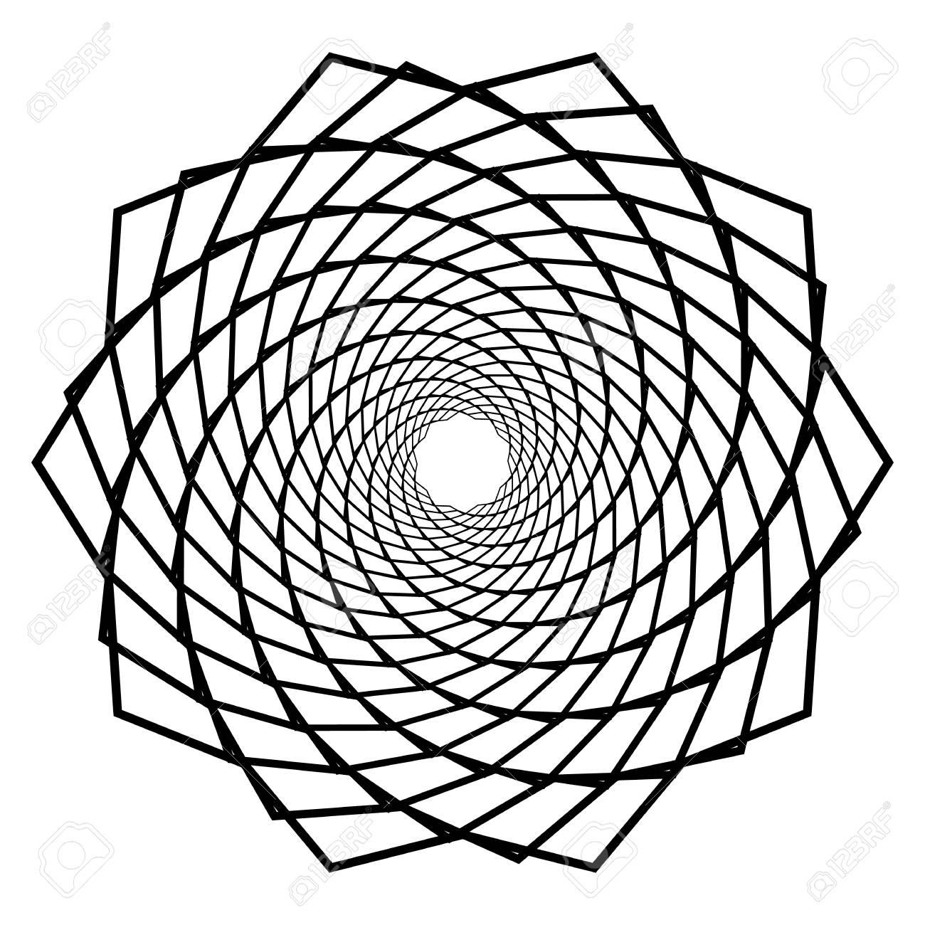 Mandala, motif with wavy, zig-zag lines rotating Vector illustration