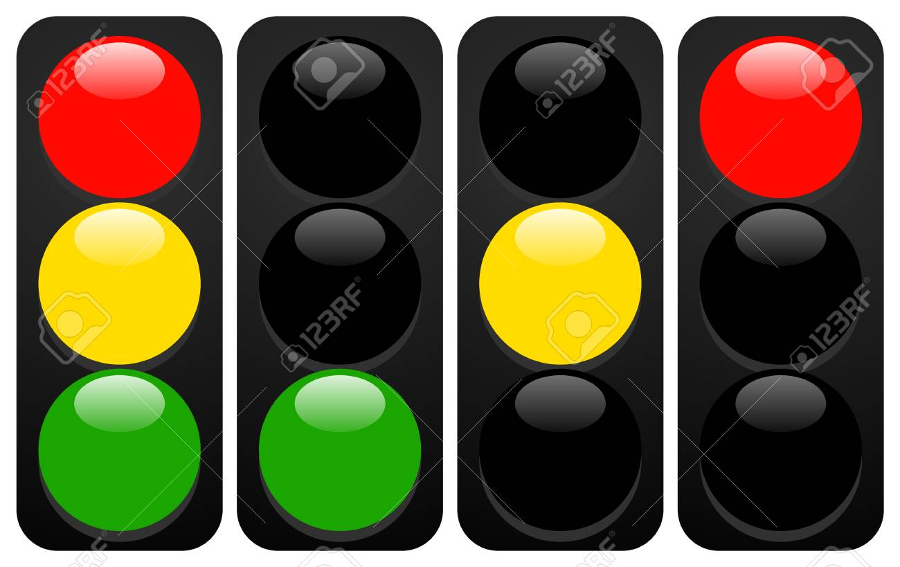 Traffic lights, lamps. Traffic light icons with gloss - 125026144
