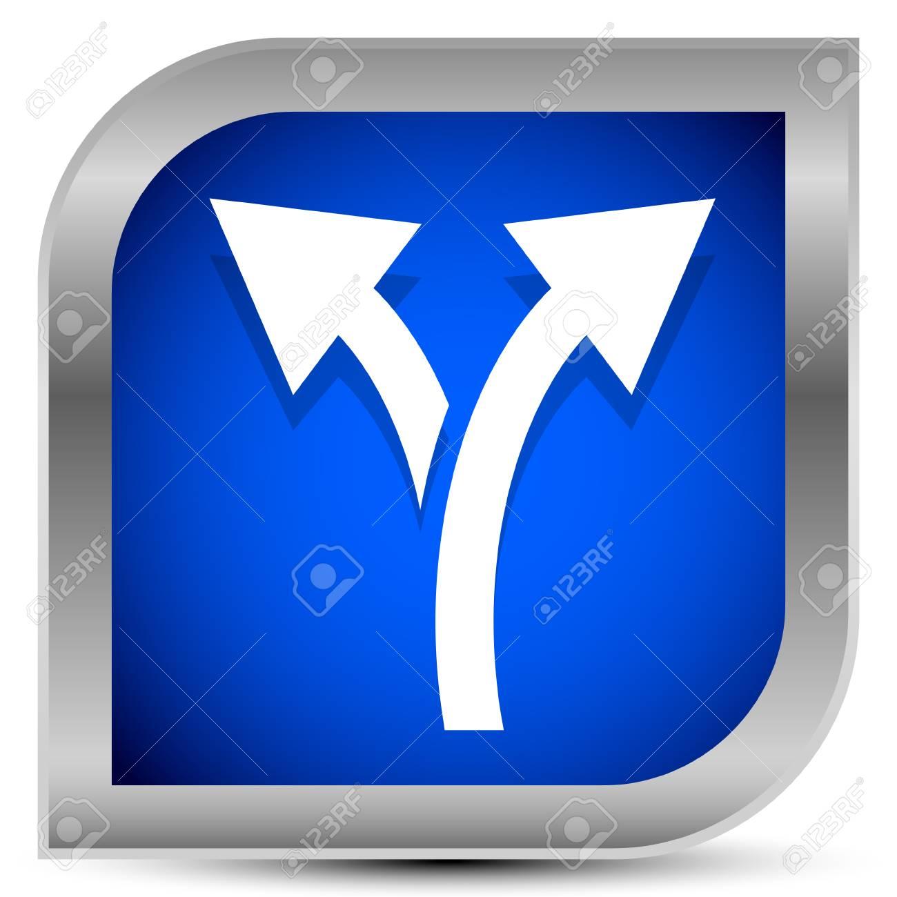 Icon with 2 way arrow. Branch, diversion icon - 118161482