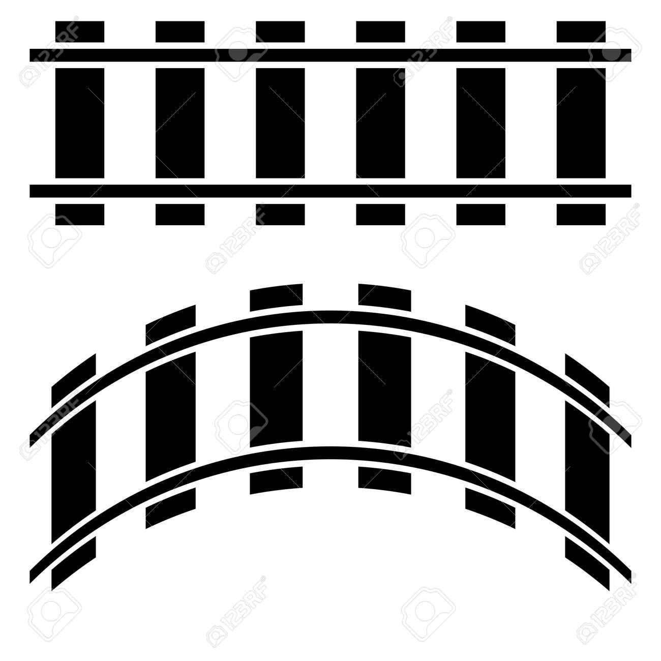 Railroad, Train track, Railway contour, silhouette vector. Tramway, metro, subway path – Stock illustration, Clip art graphics - 167559612