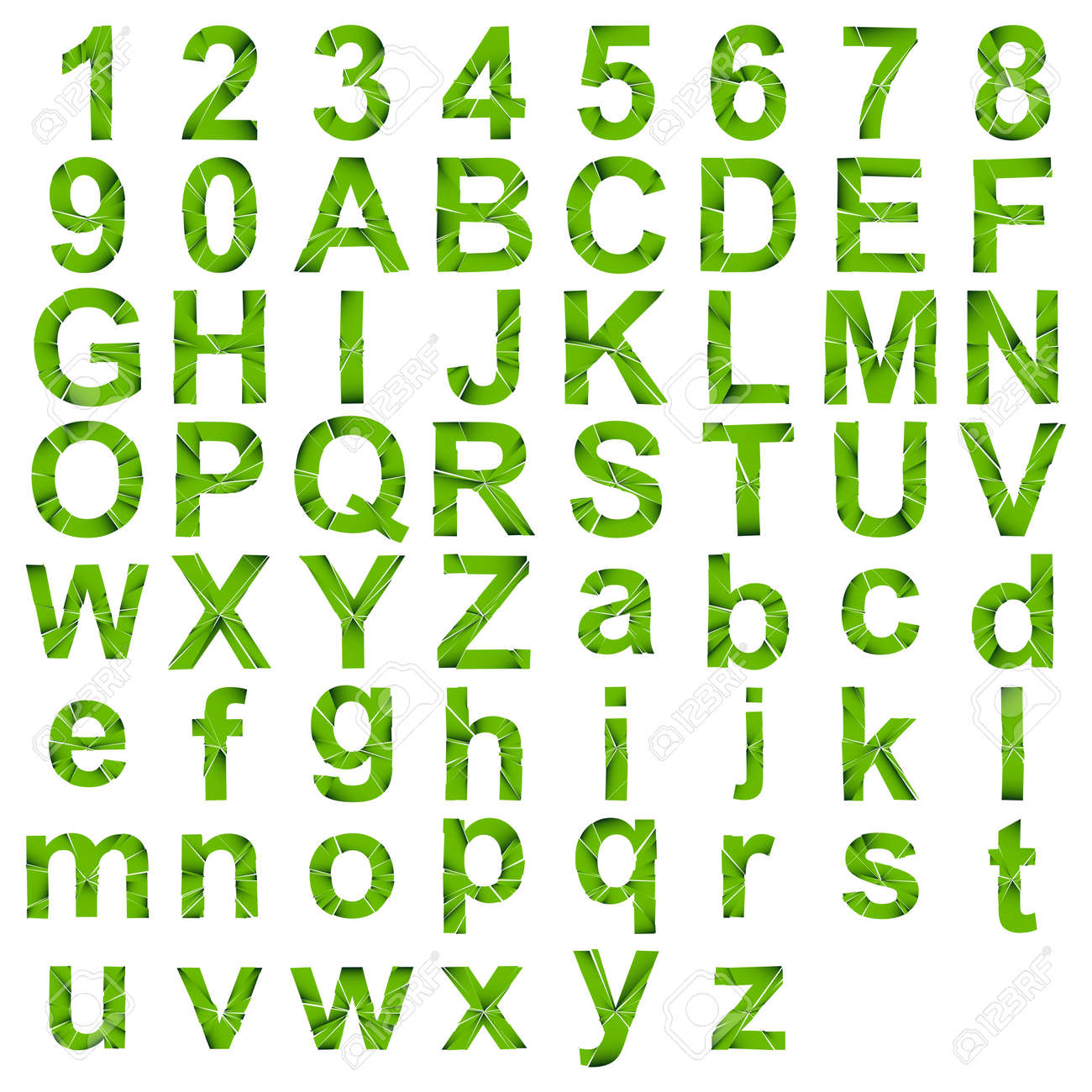Full English alphabet - ABC in lower- and uppercase with cracked, fracture, shatter effect - 167610381