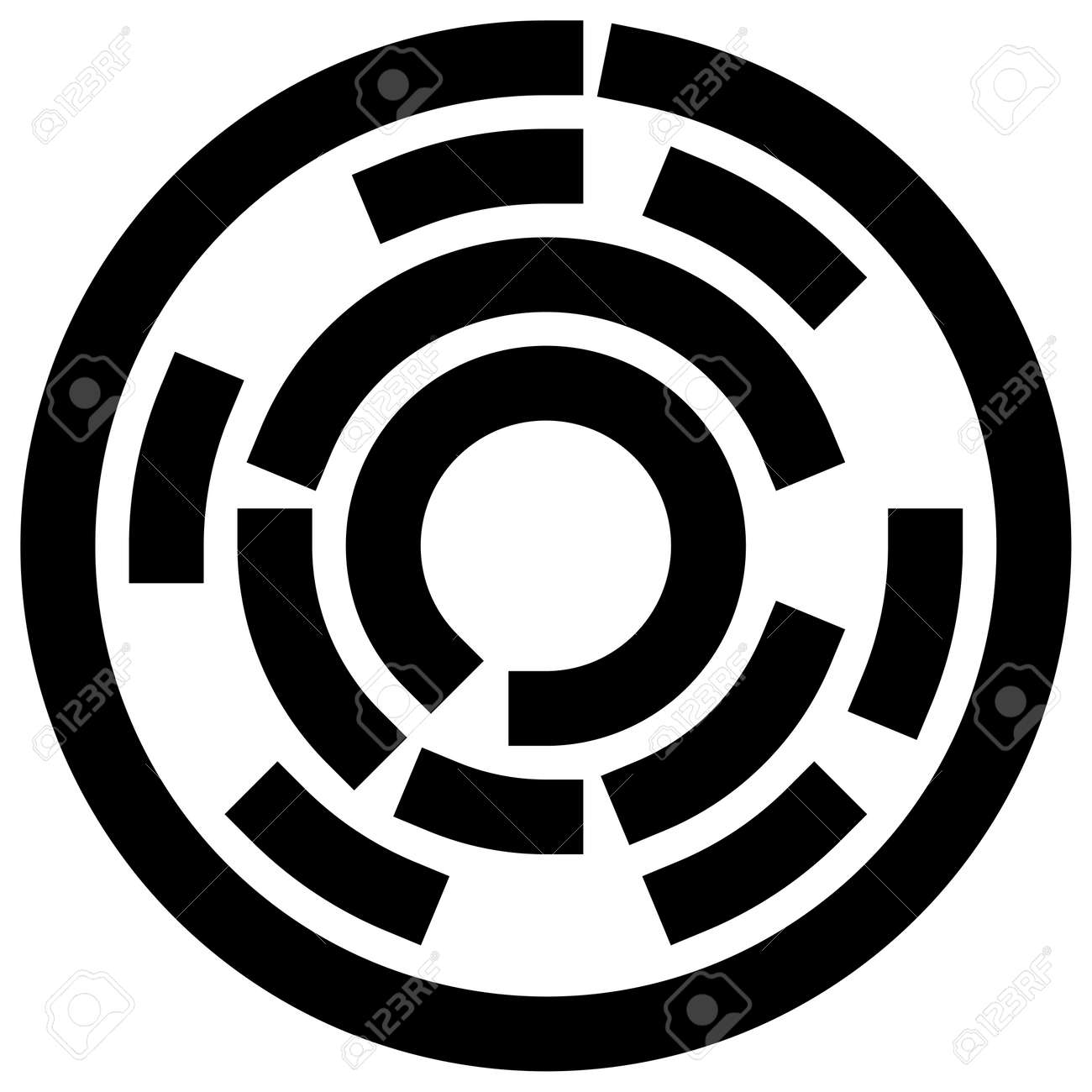Radial, radiating lines abstract burst element. Concentric whirligig volute, helix spreading stripes. Circular, cyclic strips, streaks circle shape.Twist, spiral and rotation,loop concept illustration - 167452831