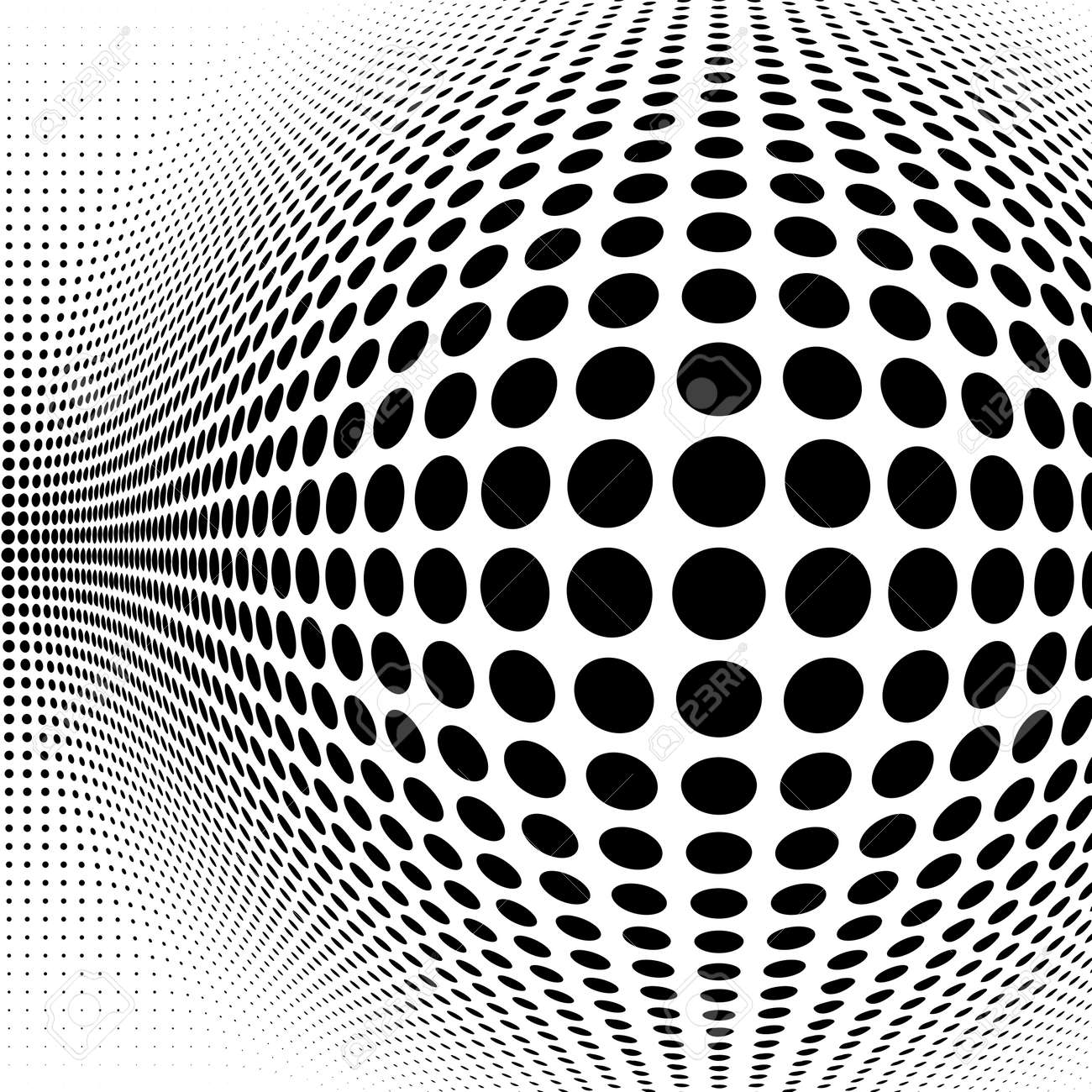 Spherical distortion halftone dots element. Orb, ball deform on bulge, bump speckles, polka-dots and screentone.Pointillist, pointillism abstract geometric circle element, pattern.Curve, camber FX - 166149782