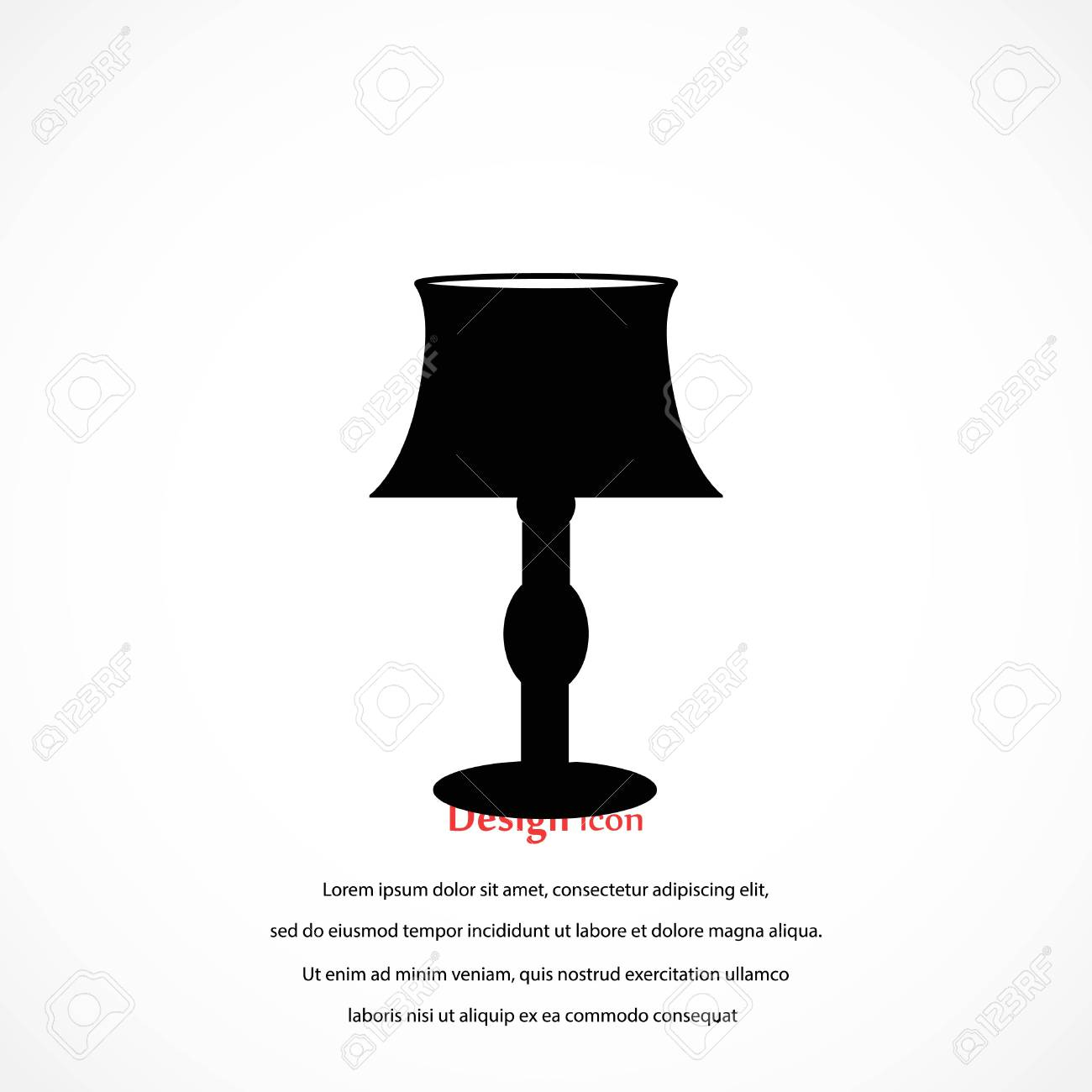 Table Lamp Icon Flat Design Best Vector Icon Royalty Free Cliparts