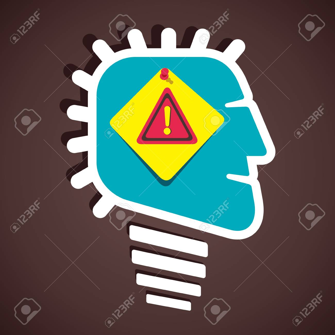 hazard attention sign in human head stock vector Stock Vector - 21330884