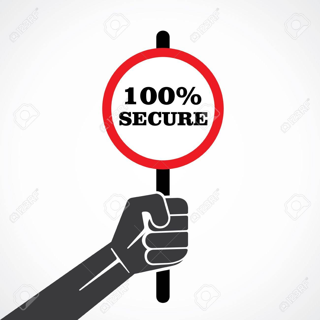 100  secure word banner hold in hand stock vector Stock Vector - 22097781