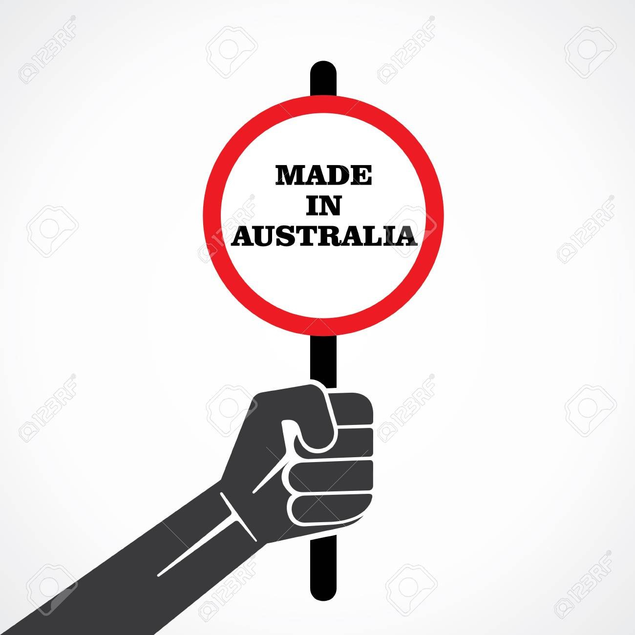 made in australia word banner hold in hand stock vector Stock Vector - 22092753
