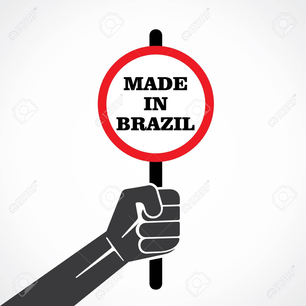 made in brazil word banner hold in hand stock vector Stock Vector - 22092759