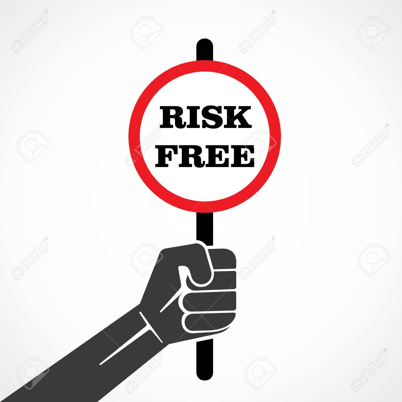 risk free placard hold in hand stock vector Stock Vector - 22092932