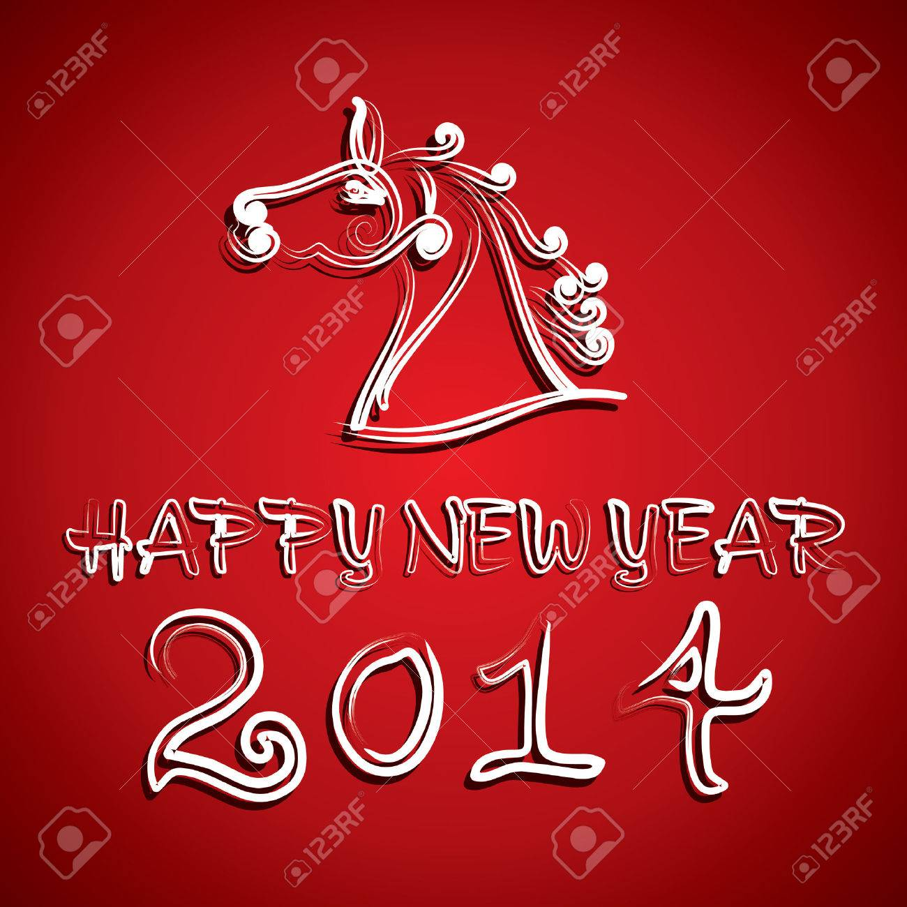 draw horse and new year 2014 background vector Stock Vector - 22567138