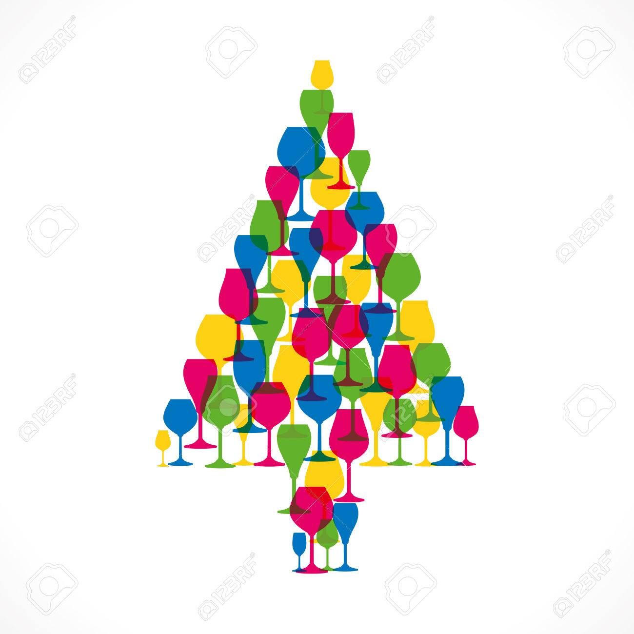 Colorful Christmas Tree Vector.Colorful Wine Glass Christmas Tree Vector