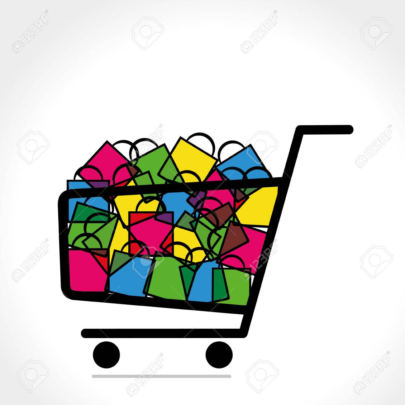 Shopping Trolley Full Of Shopping Bag Vector Royalty Free Cliparts ...