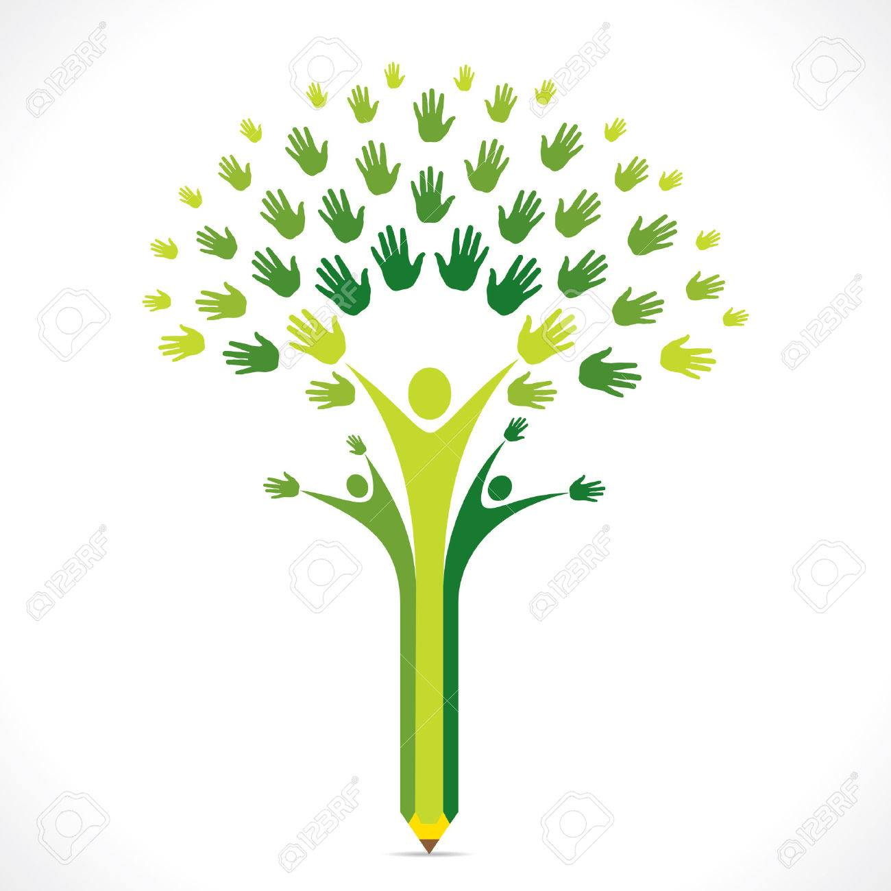 creative kids pencil hand tree design for support or helping concept vector stock vector 31510373