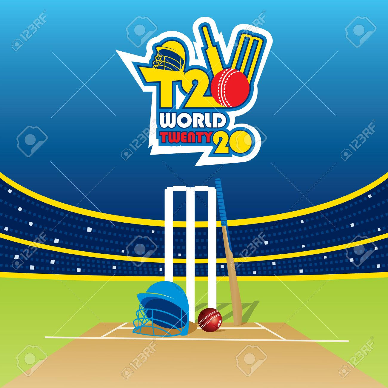 Creative T20 Cricket World Cup Banner Design Vector
