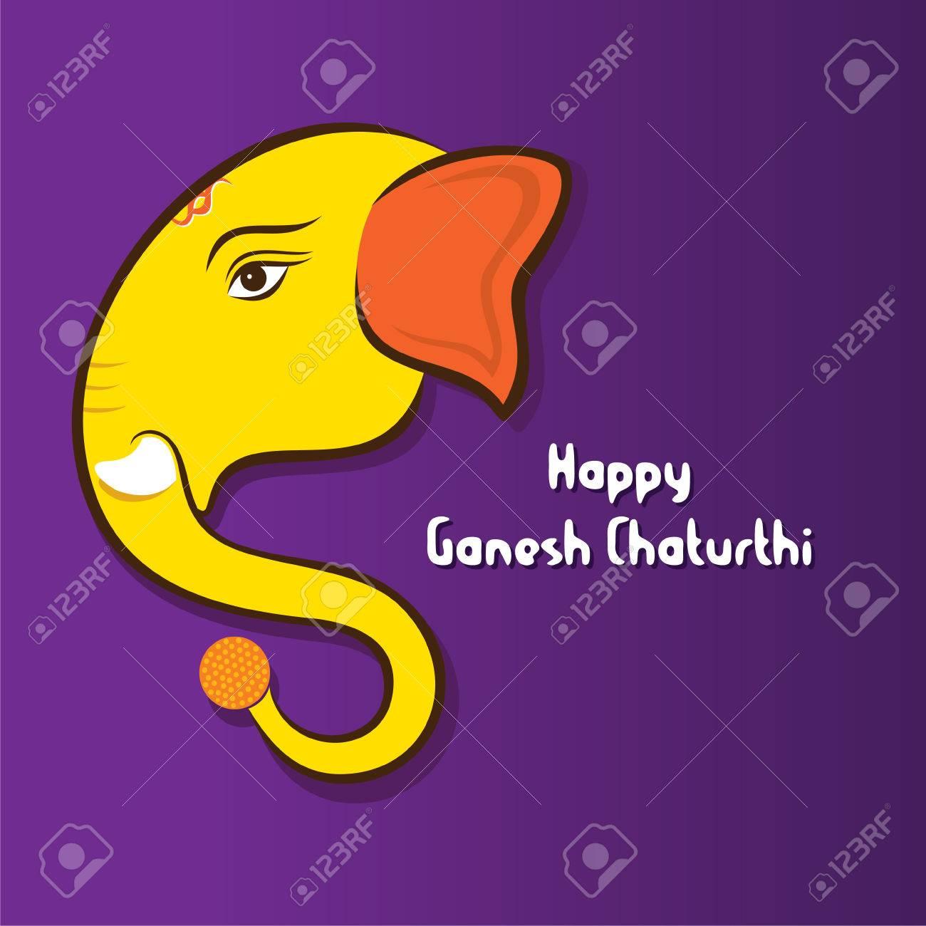 Happy Ganesha Chaturthi Festival Greeting Card Design Vector Royalty