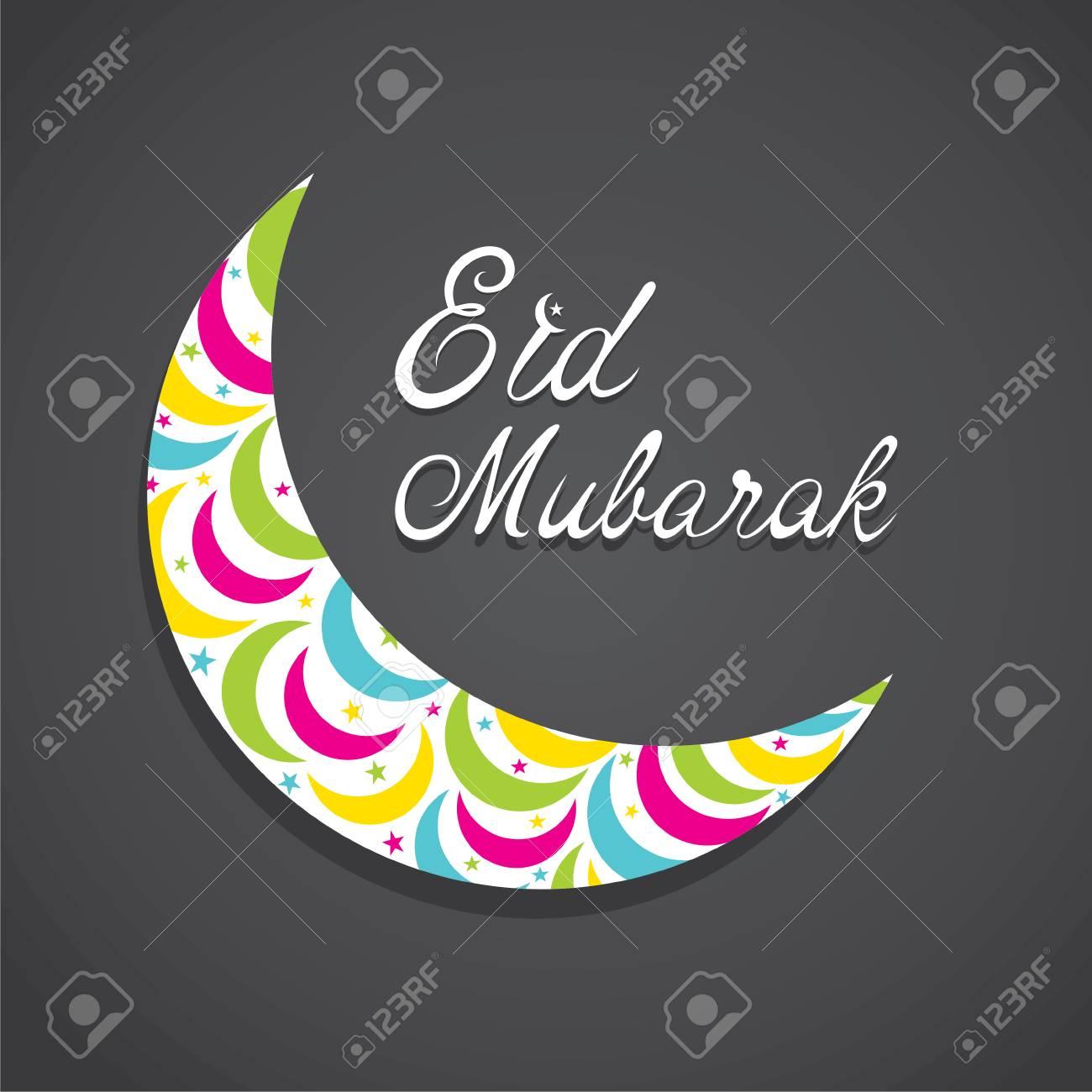 creative Eid Mubarak Islamic festival greeting card design vector