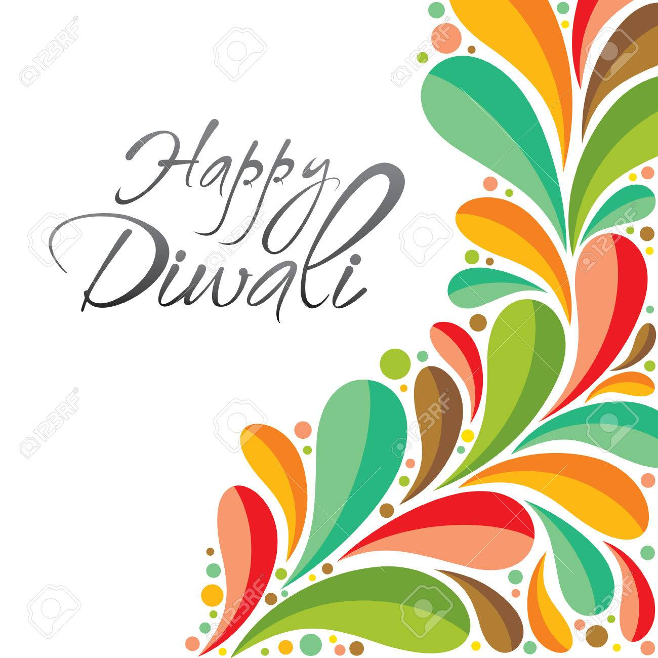 Colorful Happy Diwali Greeting Card Or Poster Design Vector Royalty
