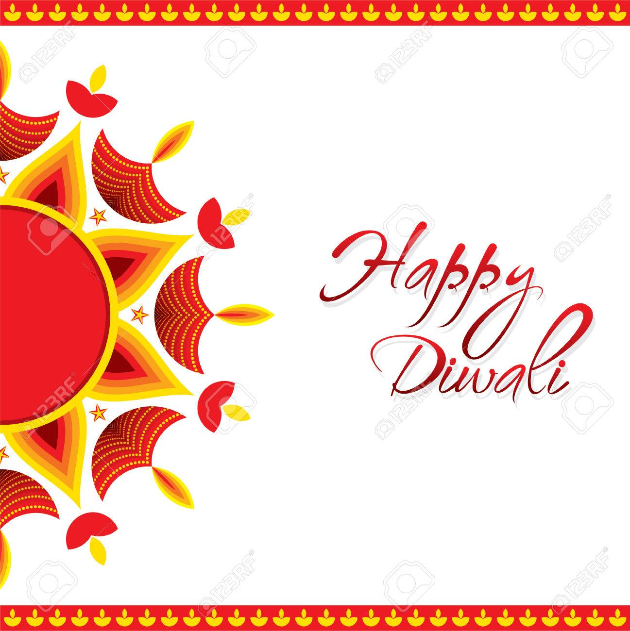 Creative Happy Diwali Greeting Card Design Vector Royalty Free