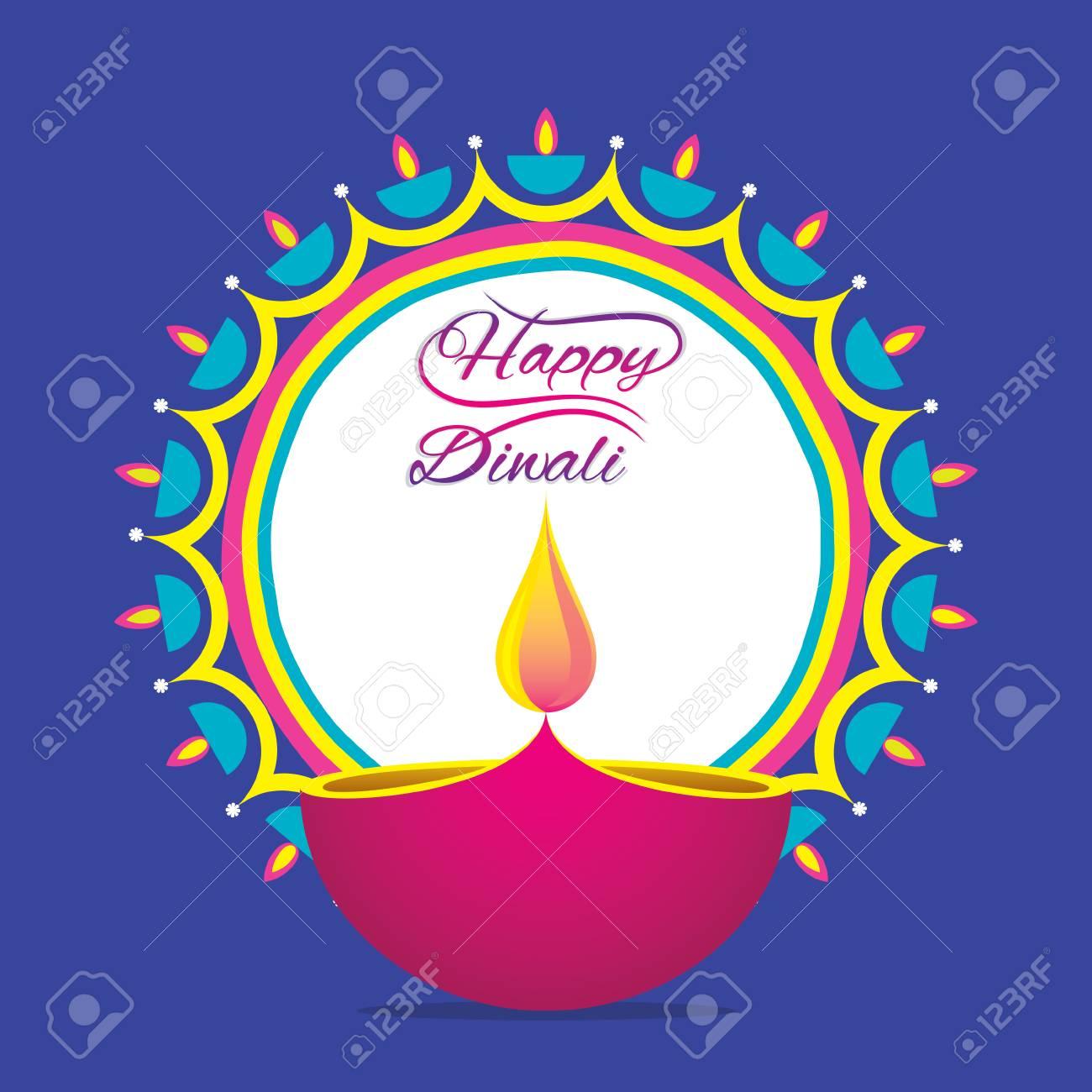 Creative Happy Diwali Greeting Design Diya Rangoli Royalty Free