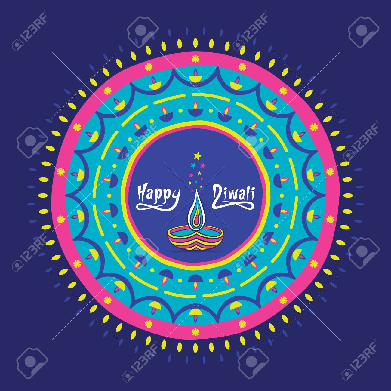 Creative Happy Diwali Greeting Design Decorate With Colorful