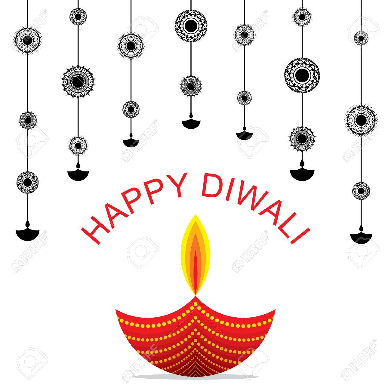 Creative Happy Diwali Greeting Design With Hanging Diya Pattern