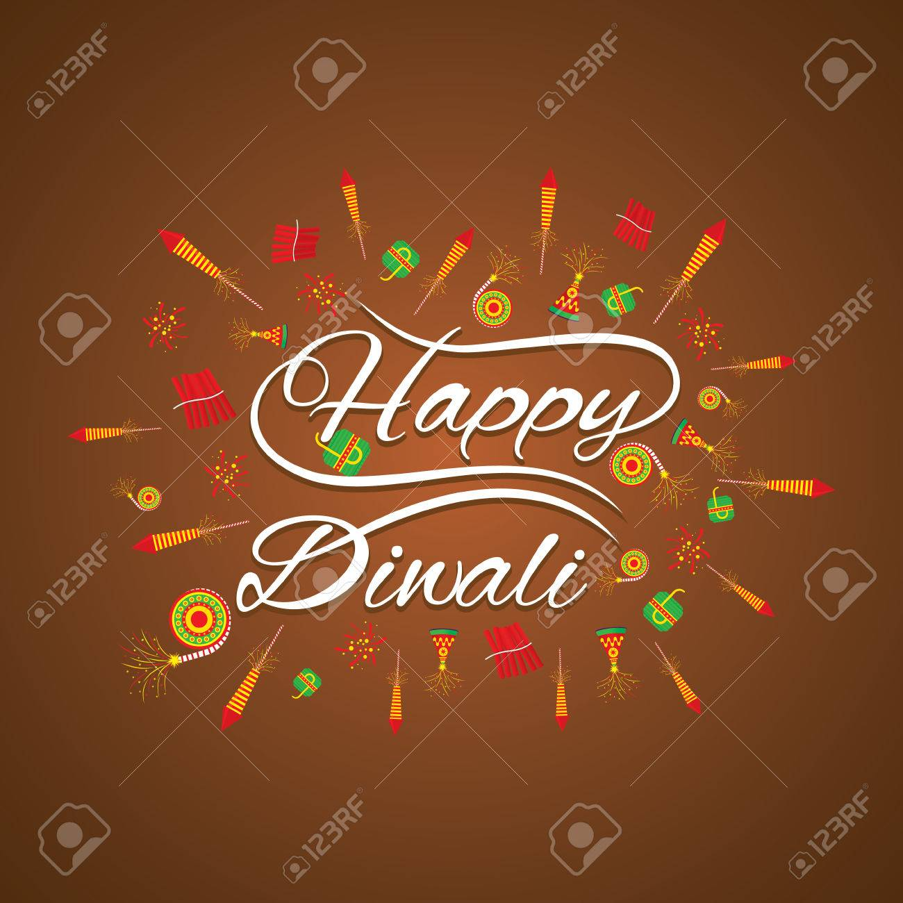 Happy Diwali Greeting Card With Fire Cracker Design Royalty Free