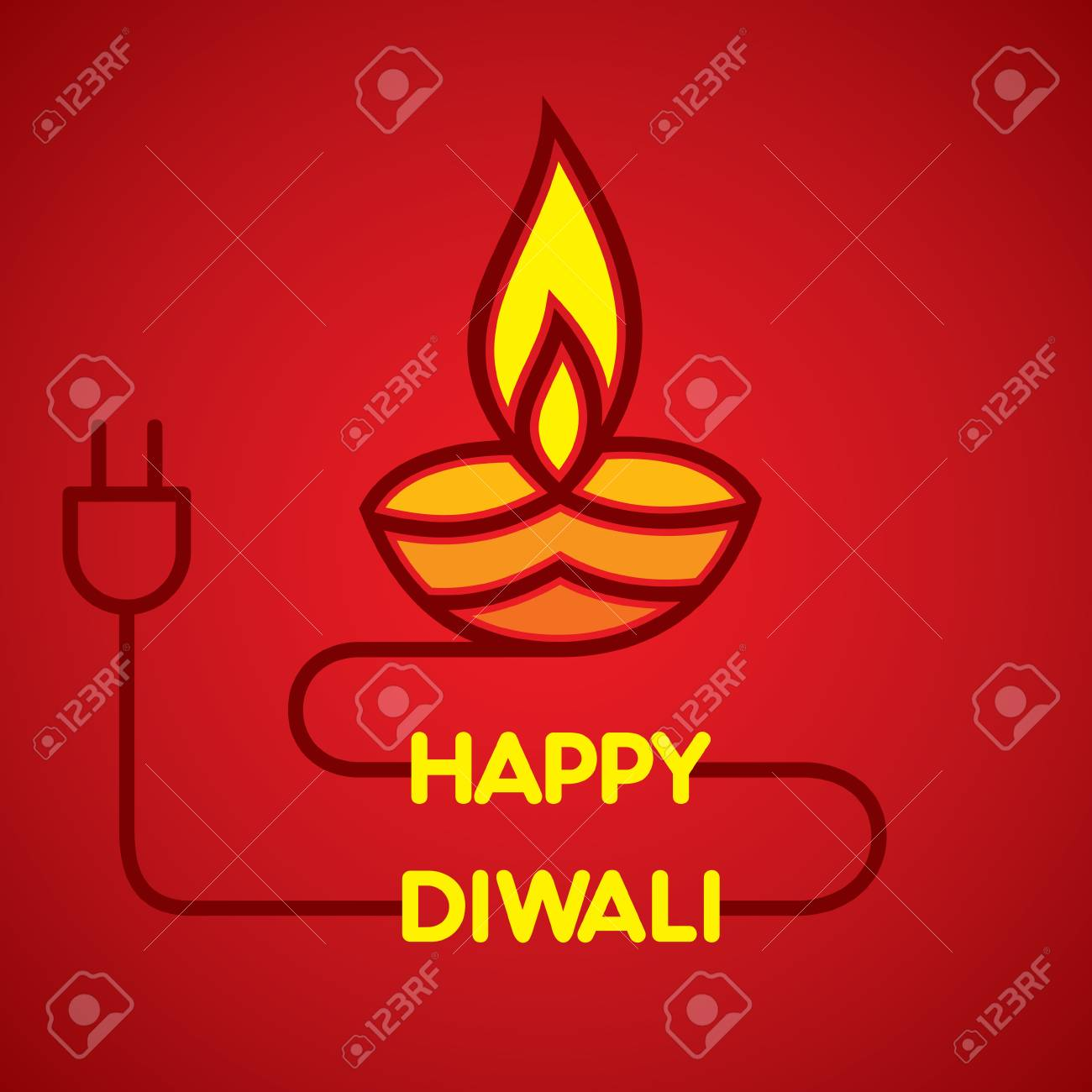 A artistic greeting card with cable and diya indian diwali festival a artistic greeting card with cable and diya indian diwali festival celebration design stock vector m4hsunfo