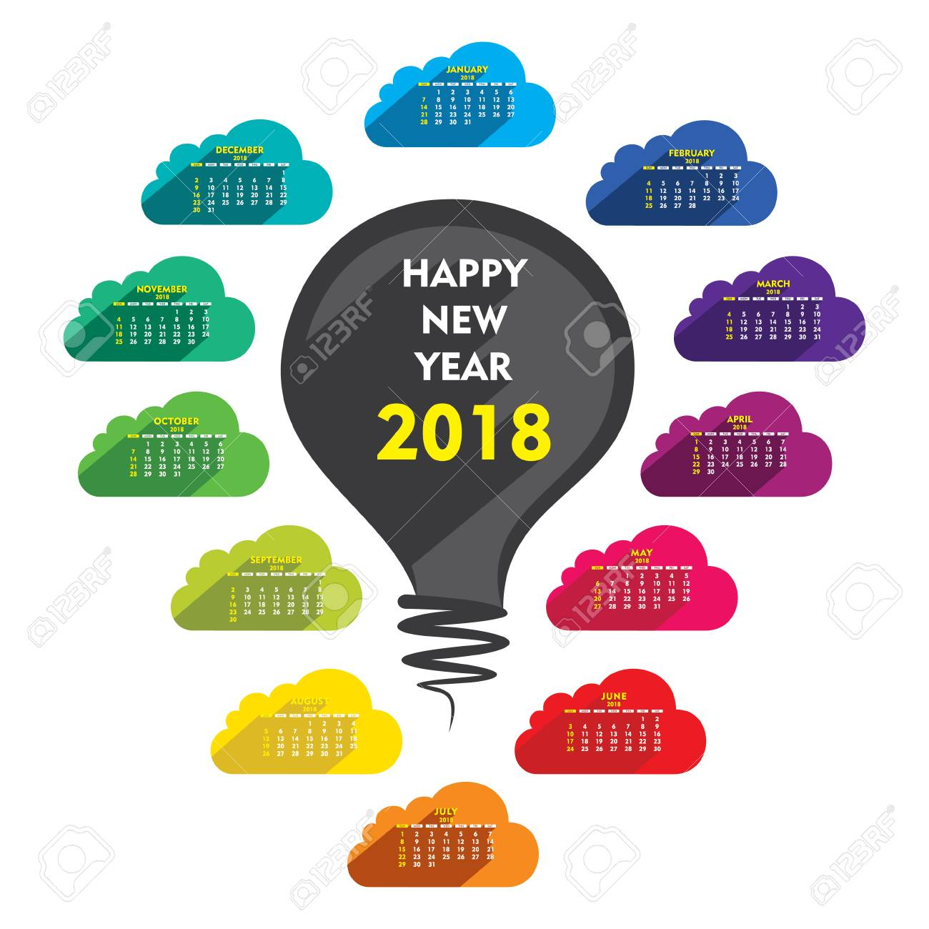 Creative Colorful Cloud Shape New Year 2018 Calendar 2018 Template