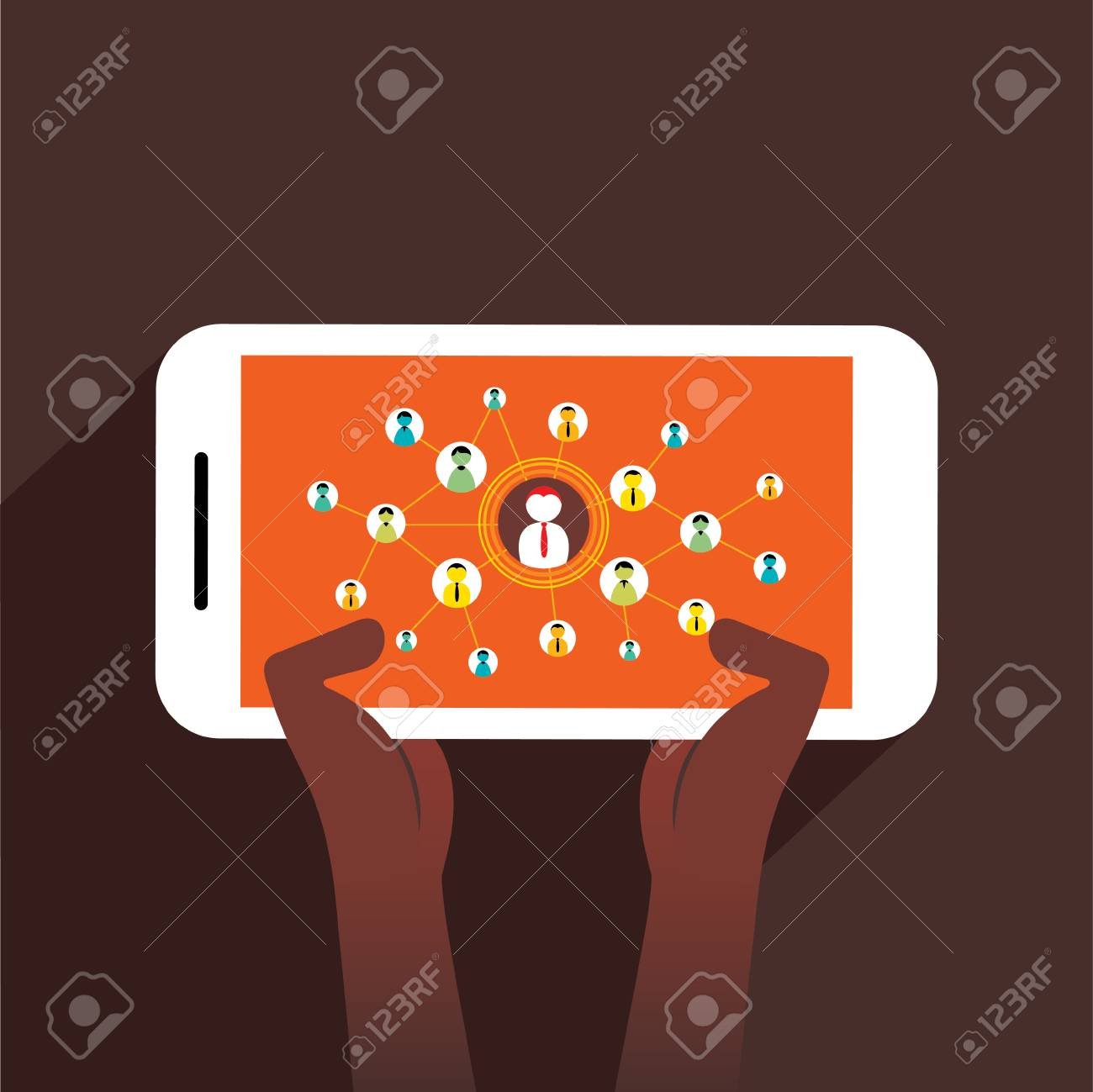 Business content sharing on mobile concept, mobile social network