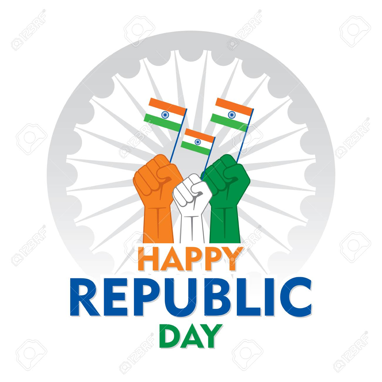 happy independence day of india illustration vector, using hand