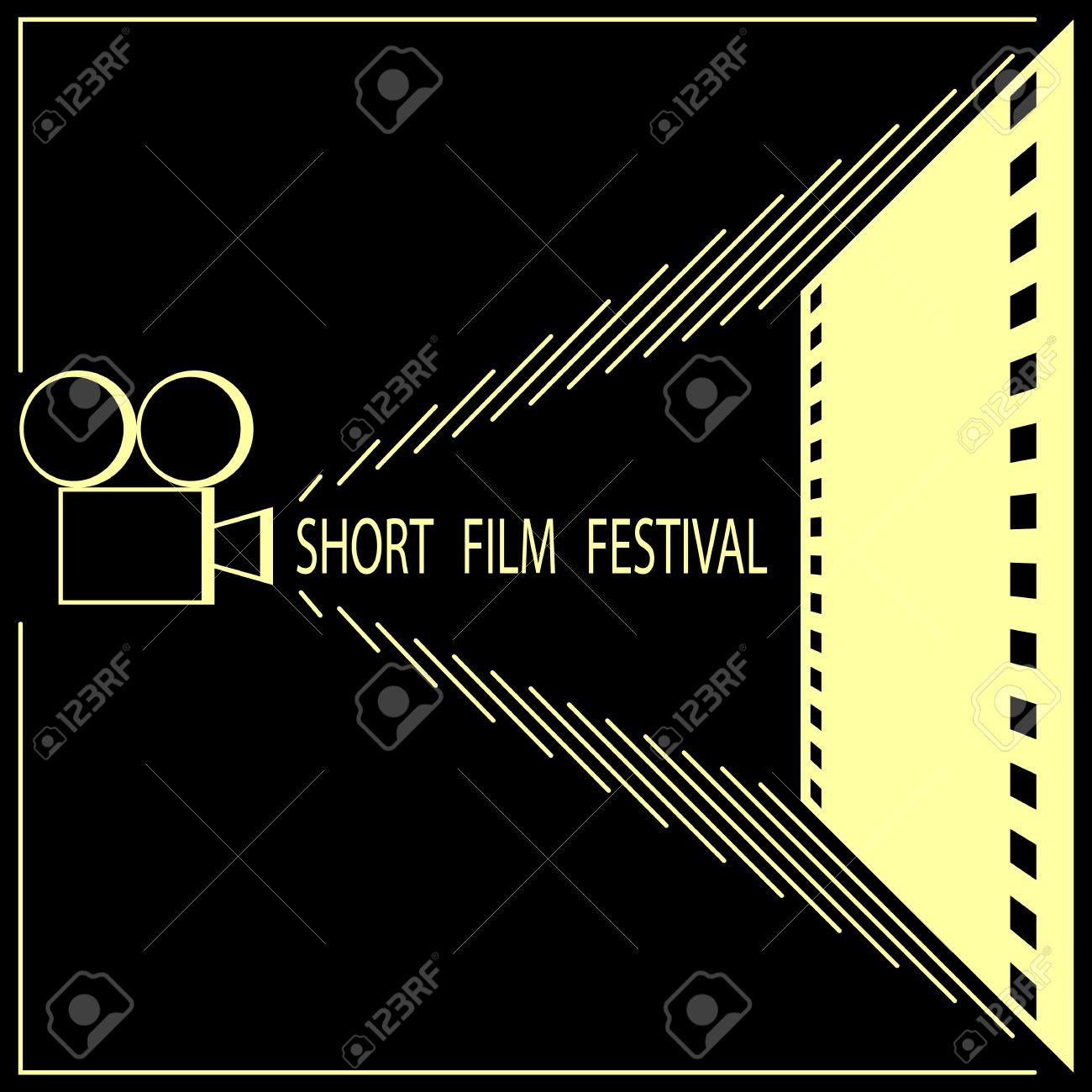 Short Film Festival Cinema Poster Template Black And Gold Vector Illustration