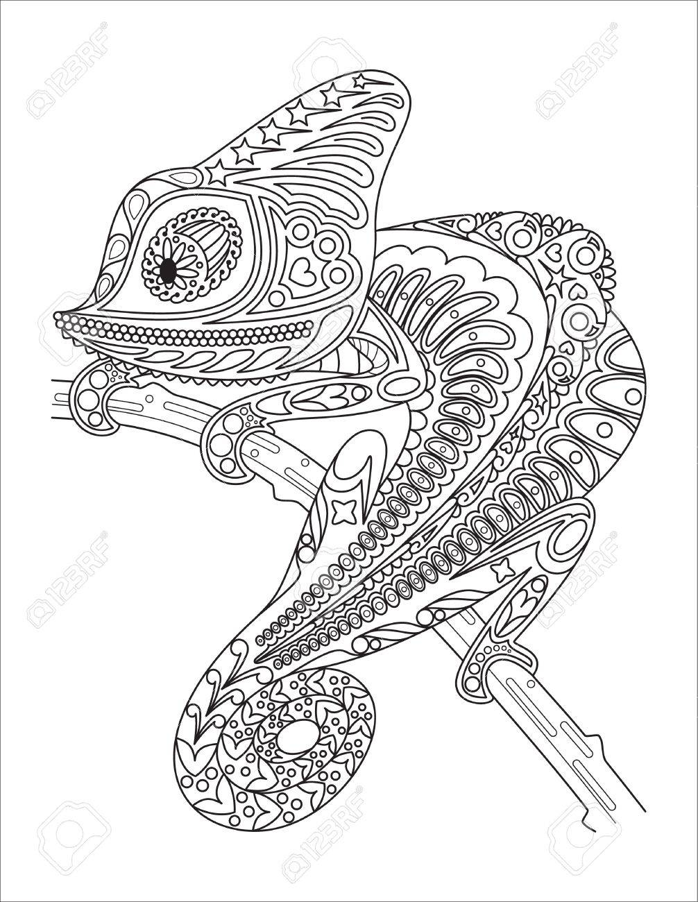 Vector Monochrome Chameleon Coloring Page Black Over White. Royalty ...