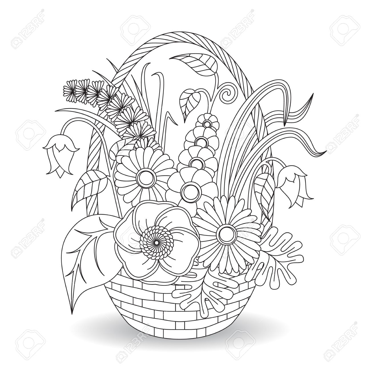 Doodle Art Flowers Floral Pattern. Coloring Page Template. Royalty ...