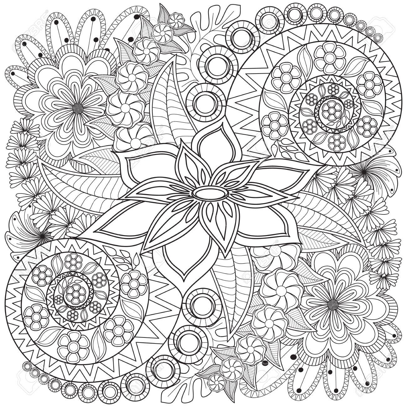 Blumen-Strudel Malvorlagen Muster. Sehr Ausführliche ...