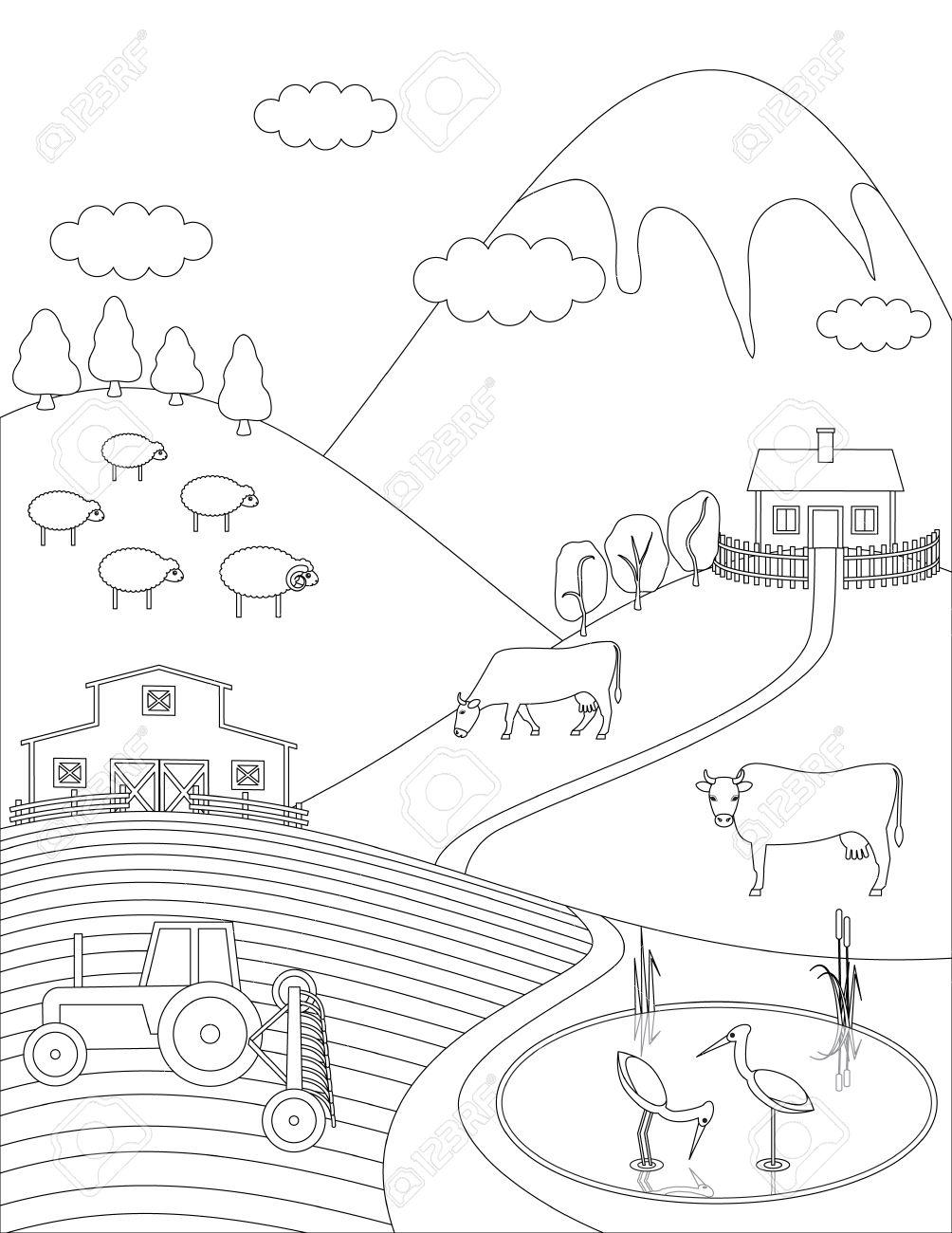 Dibujo Para Colorear Campo Fondo Granja. Animales Aves árboles Lago ...