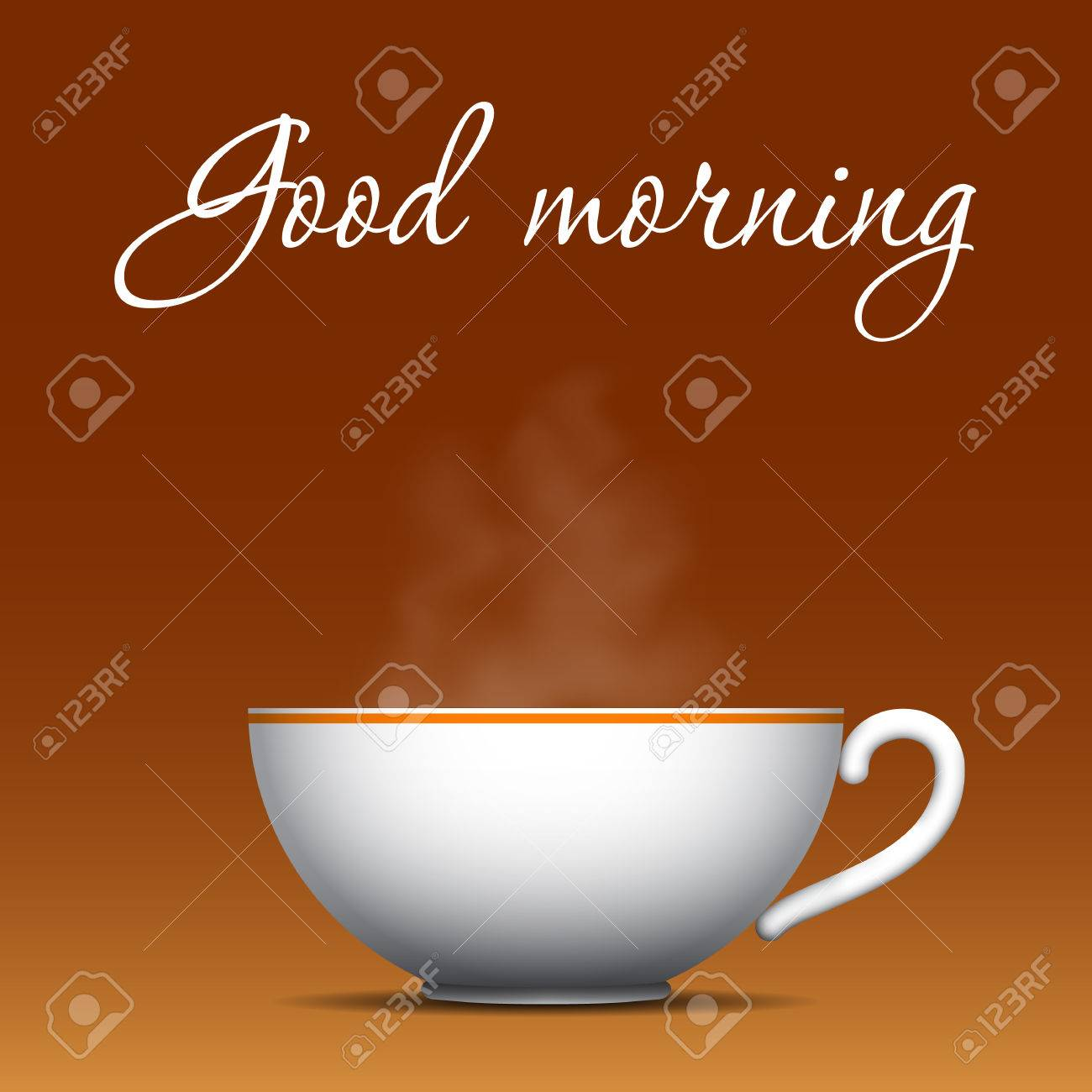 Good Morning Greeting Cup Of Coffee With A Steam Over It Vector