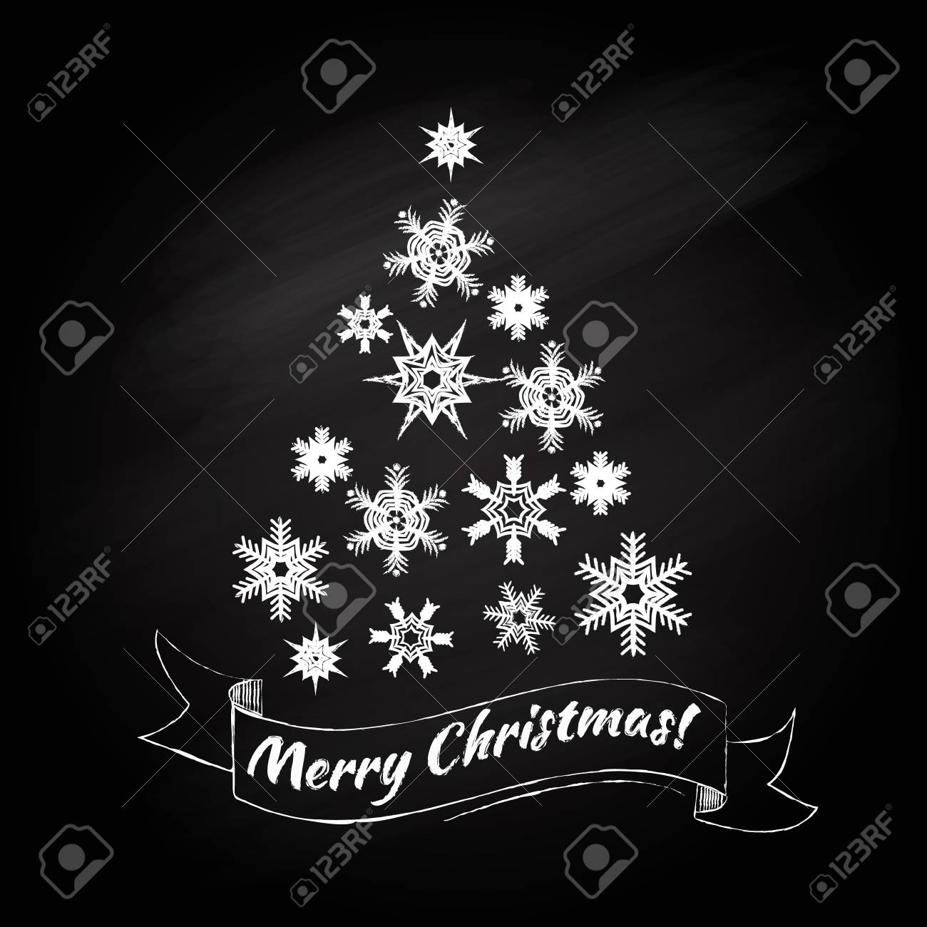 Christmas Board Design.Christmas Tree Design On The Chalk Board