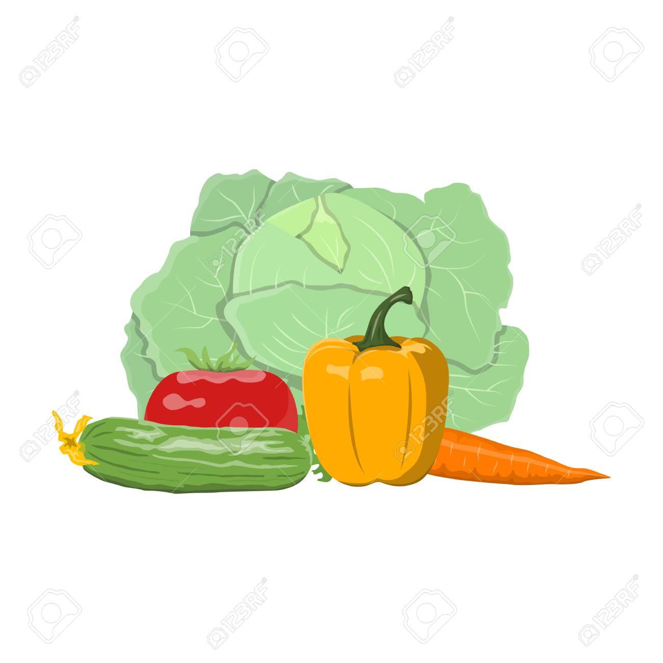 新鮮な野菜はベクトル イラスト背景白に設定します。健康的な食品と