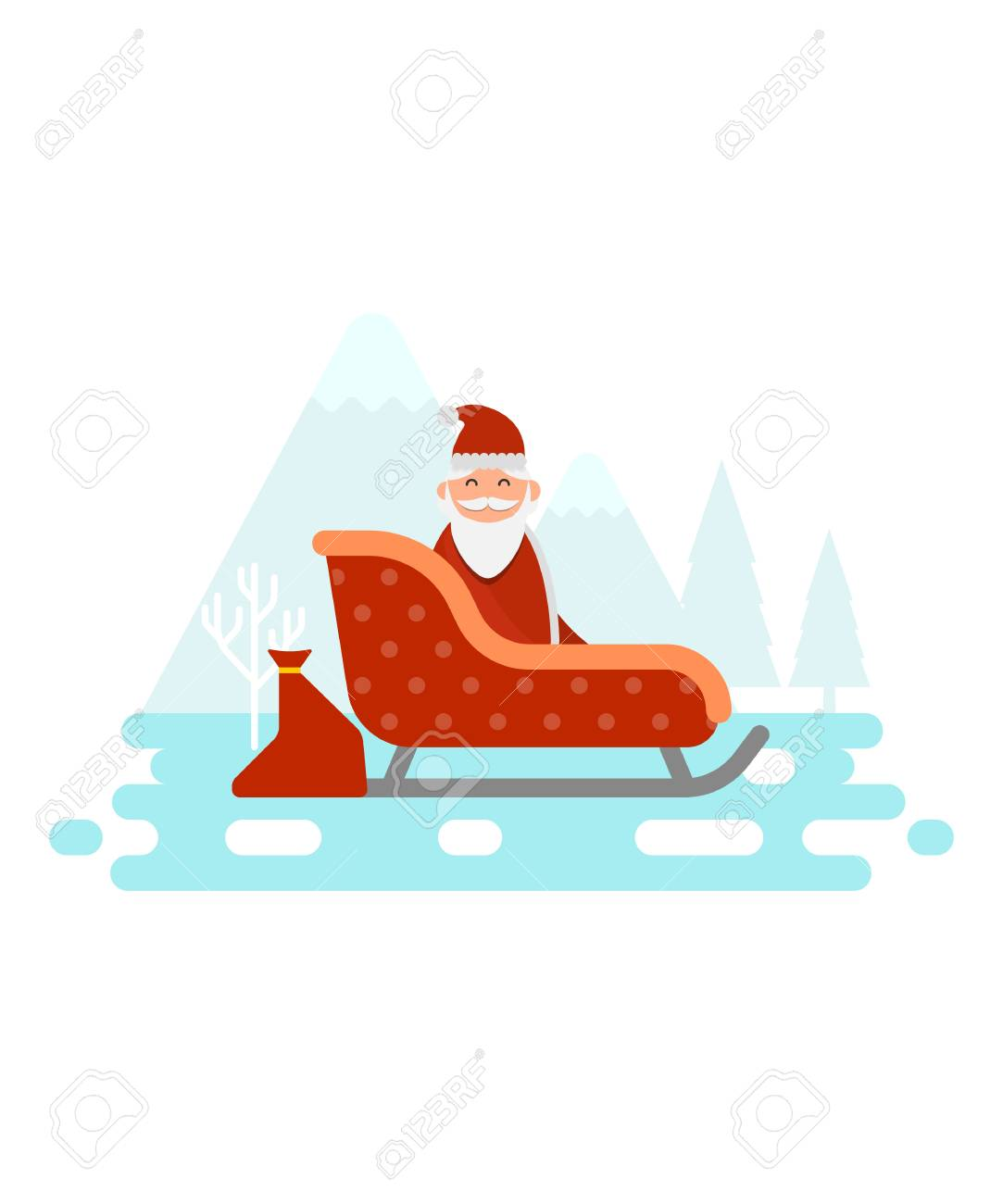 Babbo Natale A Casa Dei Bambini.Babbo Natale E Seduto Nella Sua Slitta E Sta Per Consegnare Regali E Regali Per L Illustrazione Vettoriale Di Buona Casa Dei Bambini
