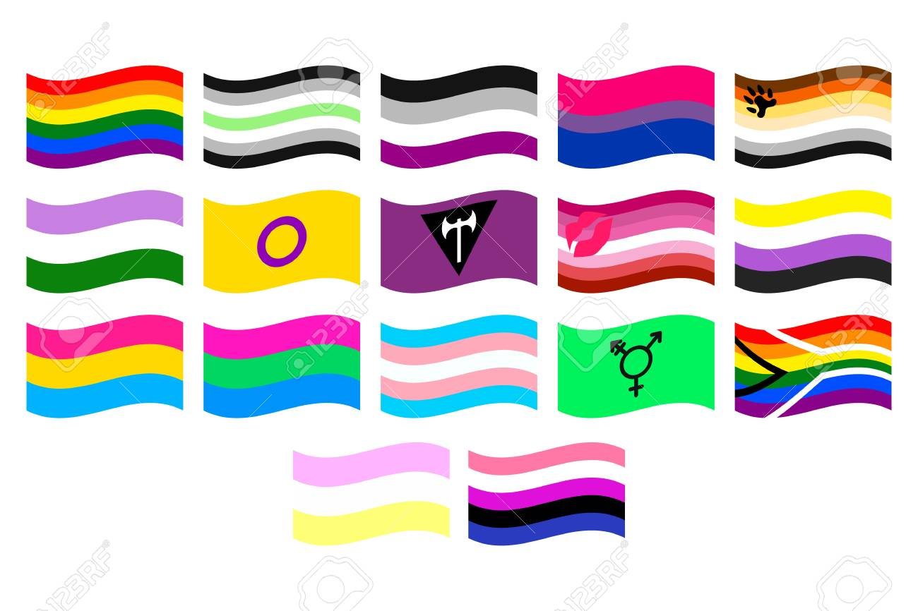 vector illustrations set of the lgbt flags on white background