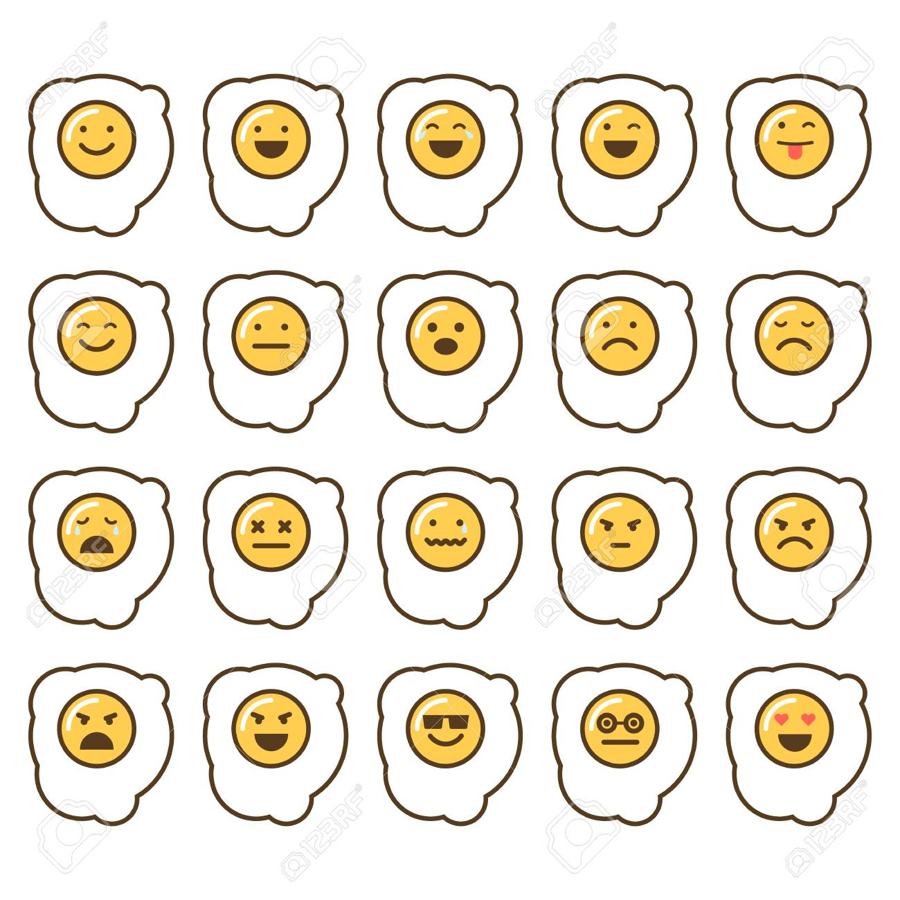 Vector icons set of emoji in the shape of scrambbled eggs on