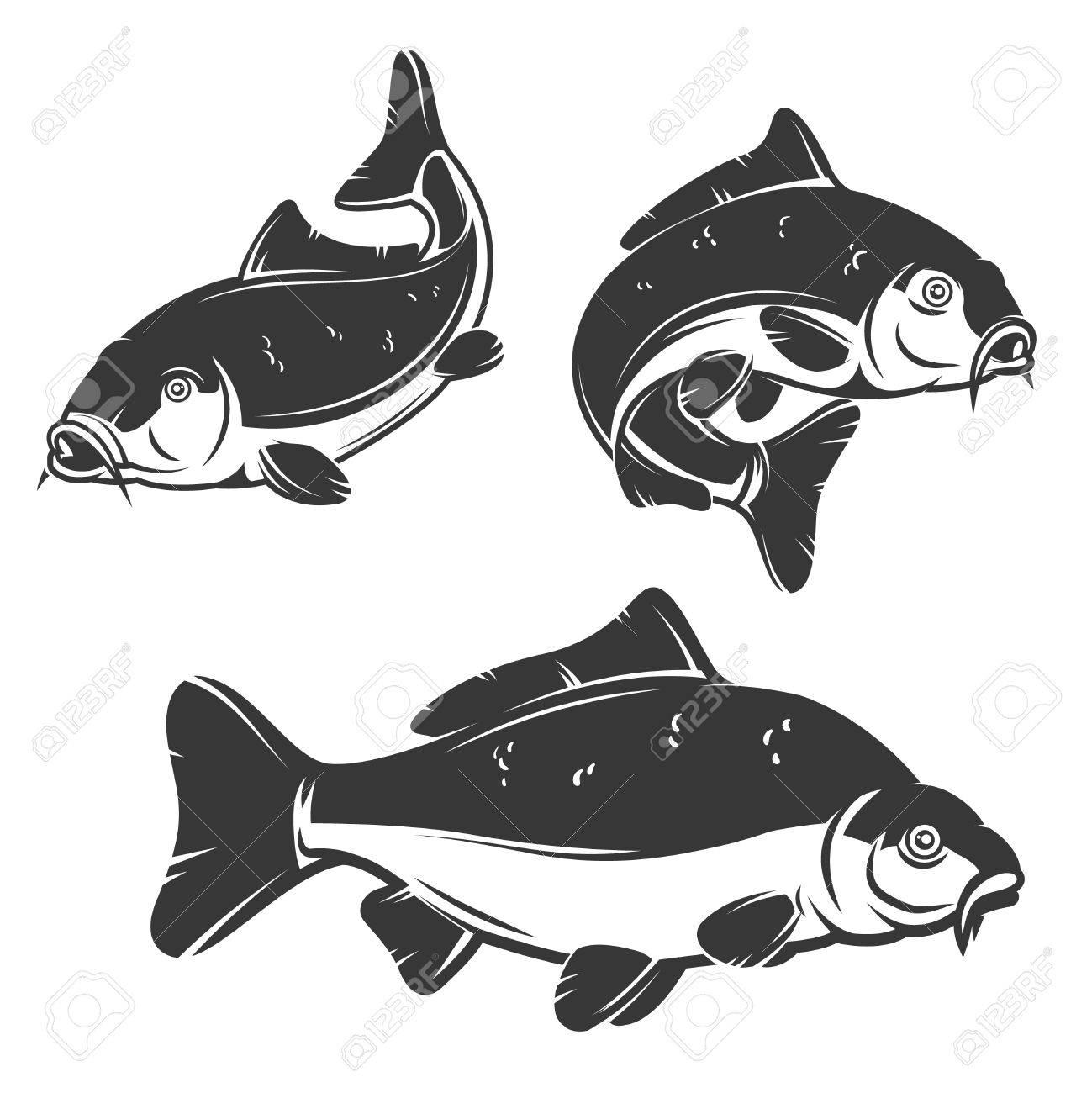 Set of carp fish icons isolated on white background. Design element, label, emblem, sign, brand mark. Vector illustration. - 72589927