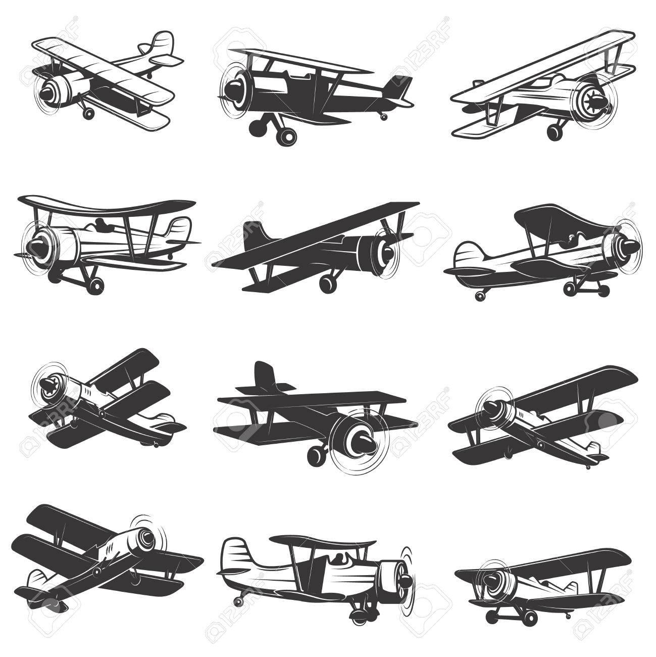 set of vintage airplanes icons. Aircraft illustrations. Design element for label, emblem, sign. - 72782405