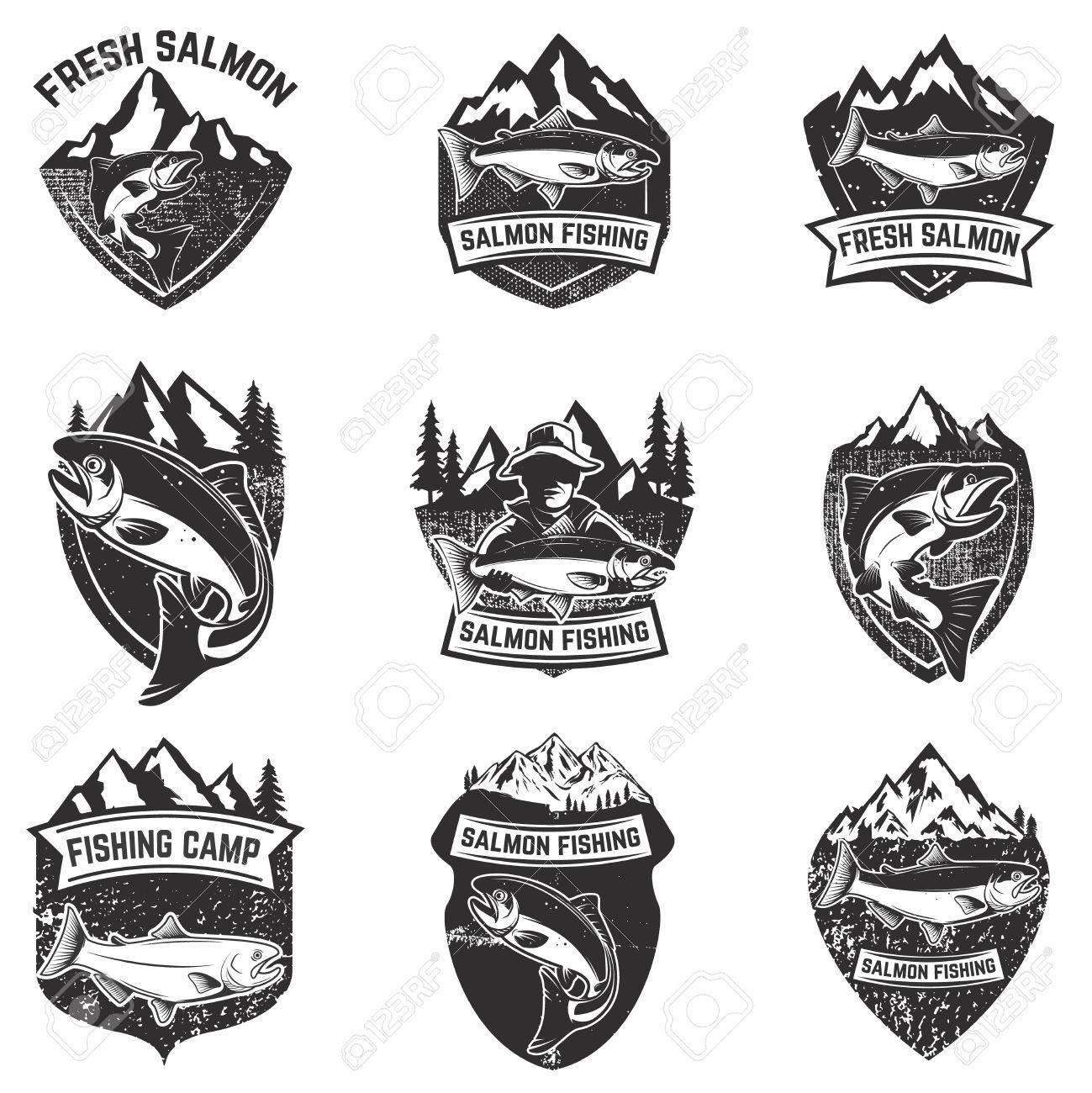 Set of grunge badges with salmon fish. Design elements for logo, label, emblem, poster, t-shirt. Vector illustration. - 73401586