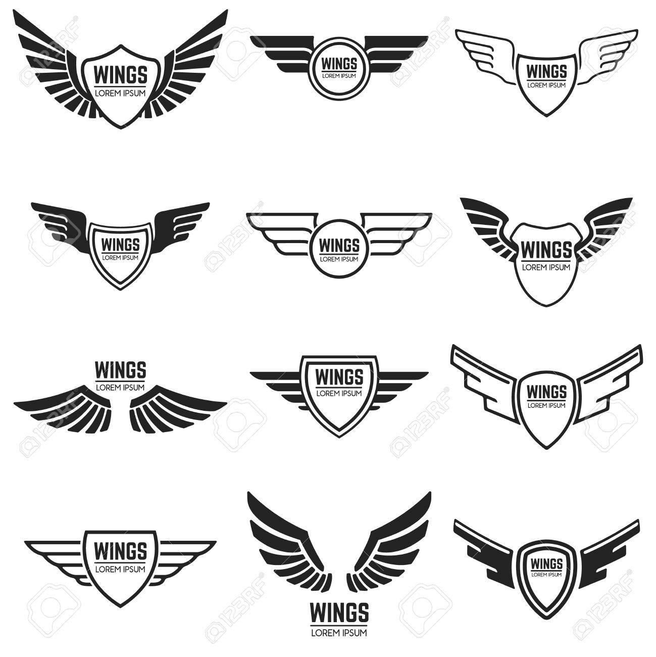 Winged emblems, frames, icons, angel and phoenix wings. Design elements for logo, emblem, sign, brand mark. Vector illustration. - 73482134
