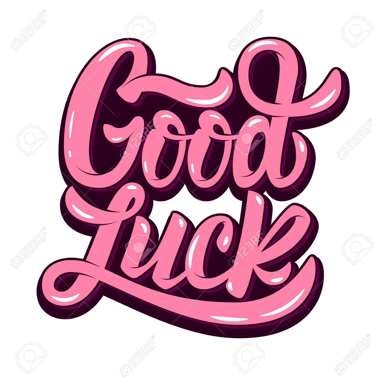 good luck. Hand drawn lettering phrase isolated on white background. - 74887823